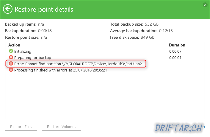 Veeam Endpoint Backup - Error message