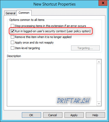 Group Policy - Shortcuts Security Context