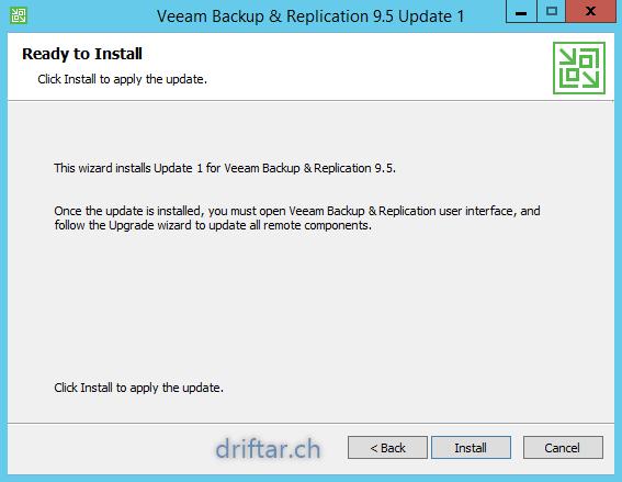 Veeam – Installing Update 1 for Veeam Backup & Replication 9 5