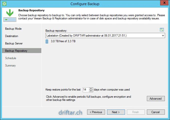 choose backup repository