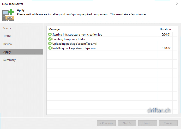 Veeam Tape Setup