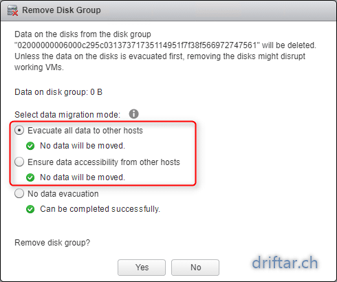 Delete disk group