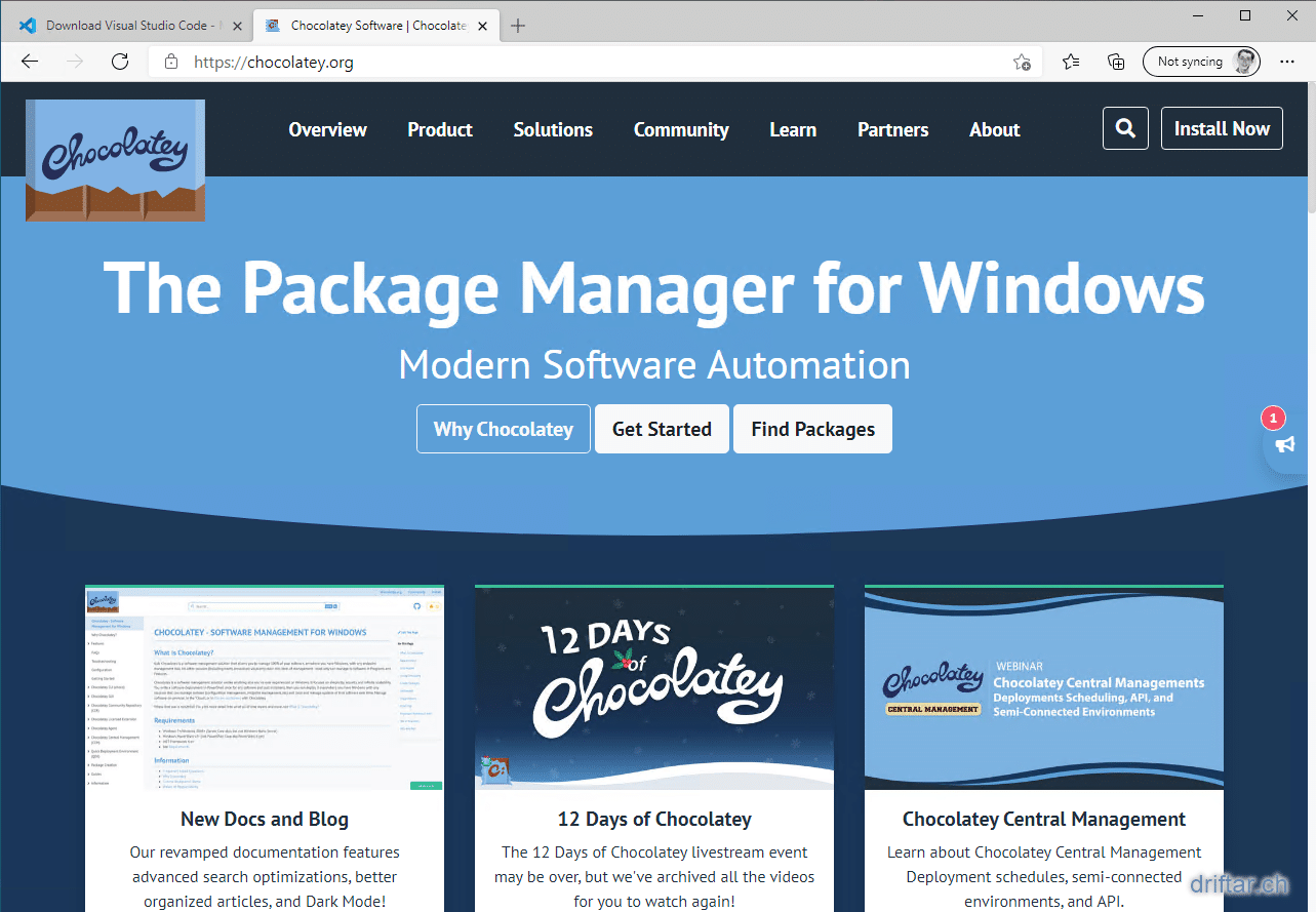 VSCode at Chocolatey